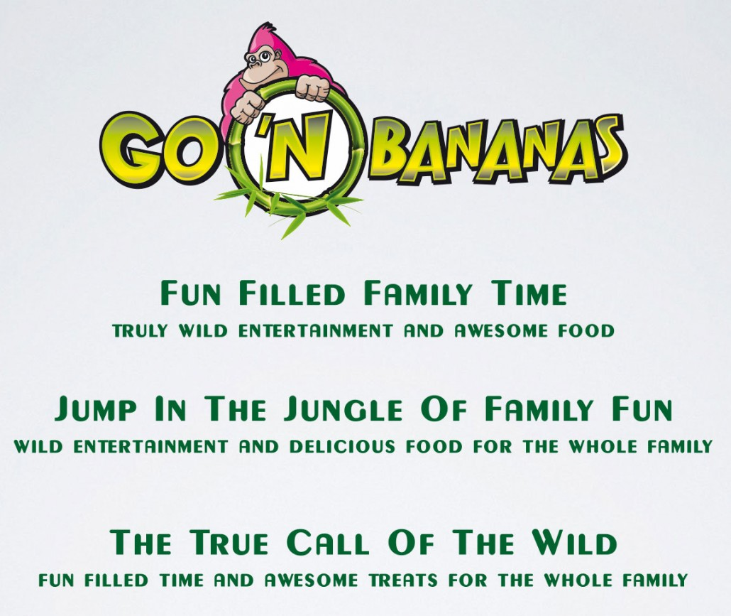 Go 'n Bananas family entertainment center printed materials