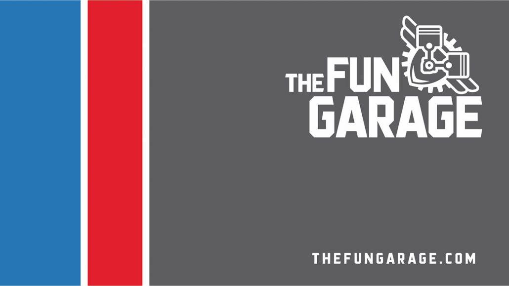 fun garage family entertainment center marketing logo design business card