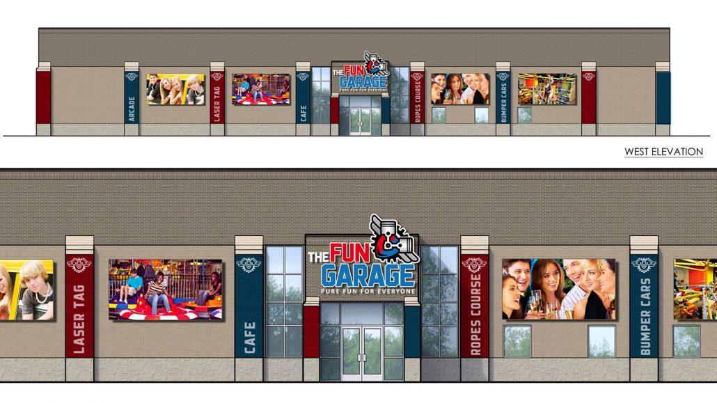 fun garage family entertainment center exterior signage design and branding