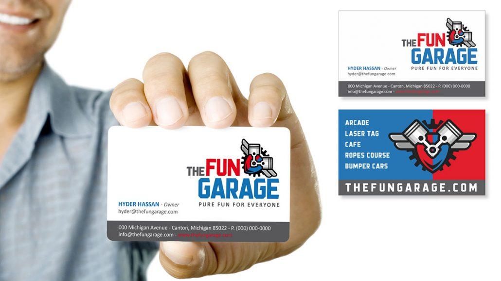 fun garage family entertainment center branding marketing design business card