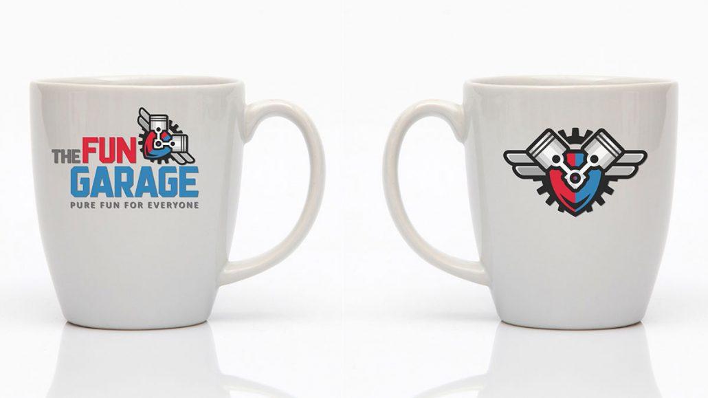 fun garage family entertainment center merchandise marketing design logo mug