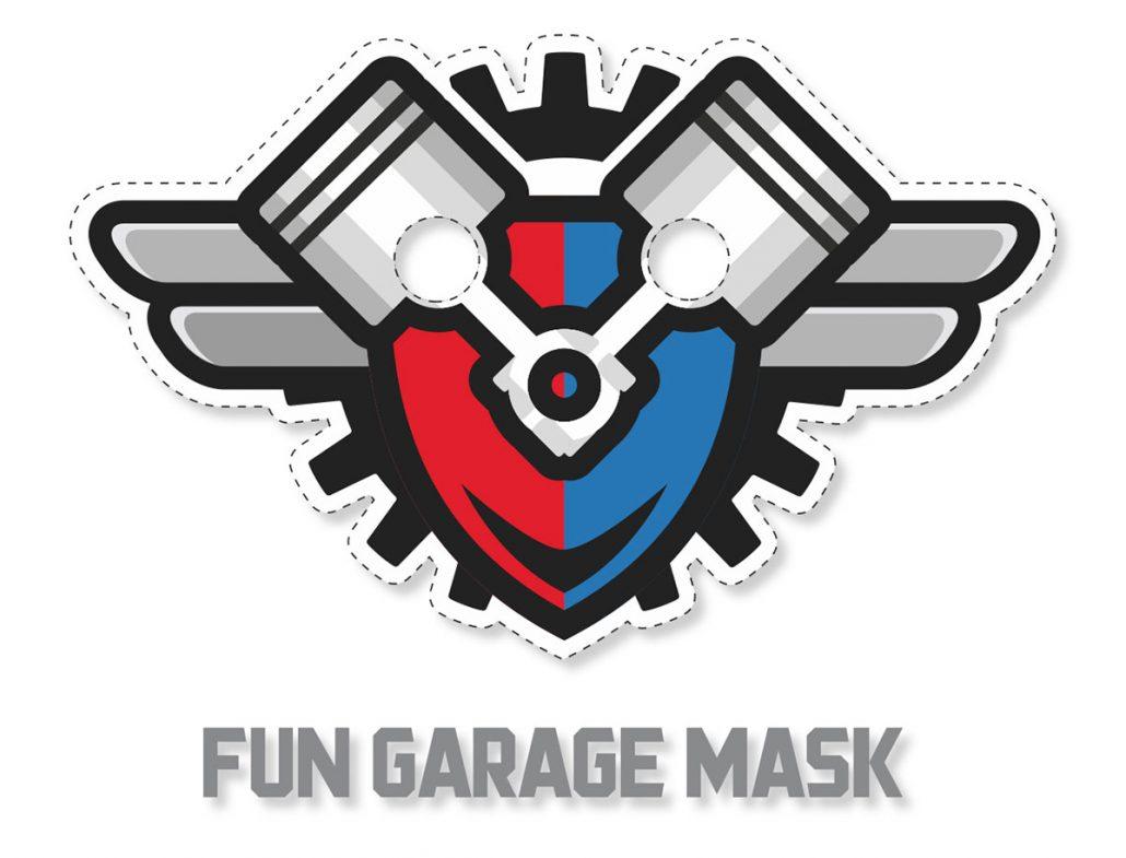 fun garage family entertainment center logo mask design