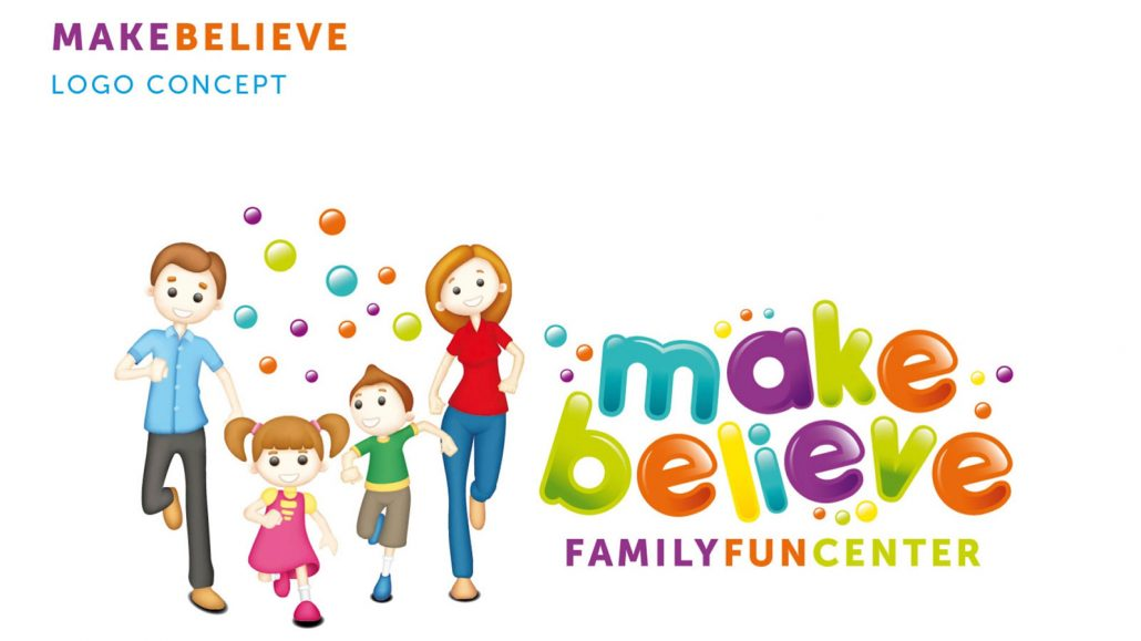make believe family fun center logo design
