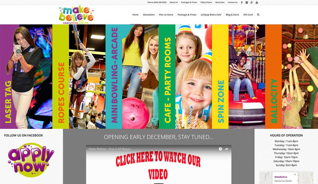 make believe family fun center branding and web design