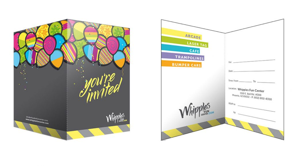 whipples family entertainment center branding marketing materials design birthday card invitations