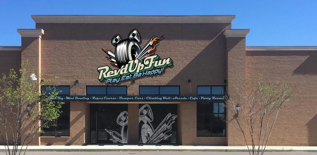 exterior branding design for rev'd up fun family entertainment center