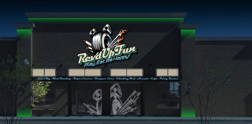 exterior branding design for rev'd up fun family entertainment center at night