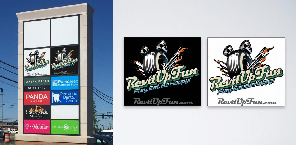 branding design and signage for rev'd up fun family entertainment center